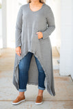 tunic, long sleeve, scoop neck, hood, front pocket, floor length back, short front, gray, solid, comfy