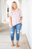 top, blouse, short sleeve, embroidered, airy, spring, flowy, pink, round neck