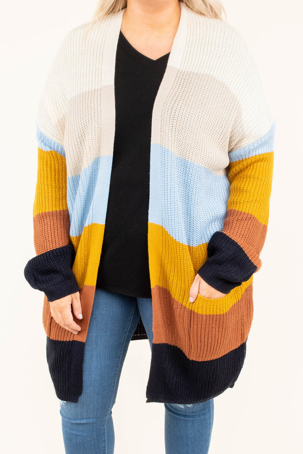 cardigan, long sleeve, pockets, long, white, tan, blue, mustard, rust, black, colorblock, comfy, fall, winter