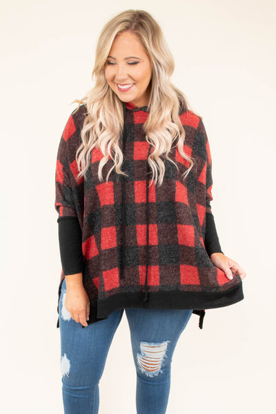 hoodie, long sleeve, hood, drawstrings, flowy, side slits,  red, black, plaid, comfy, outerwear, fall, winter