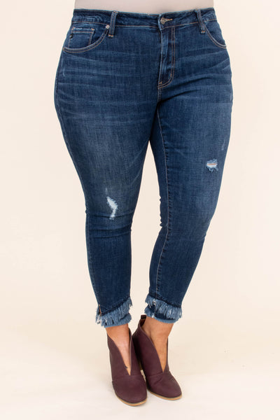 jeans, skinny, long, dark blue, ripped, fringe hems, layered hems, comfy