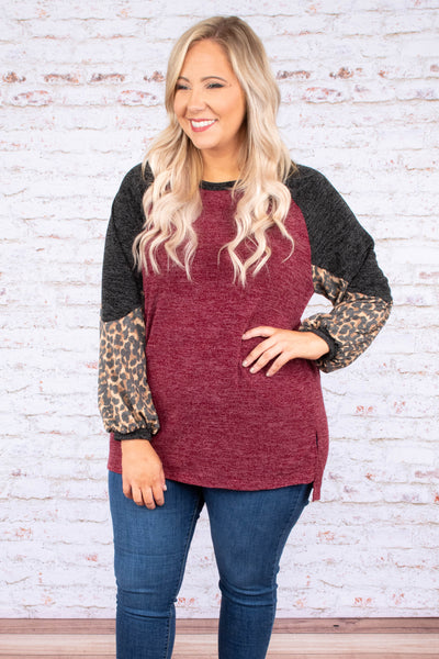 shirt, long sleeve, bubble sleeve, side slit, burgundy, black, brown, leopard, colorblock, comfy, fall, winter