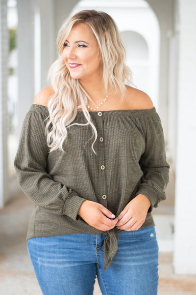shirt, long sleeve, off the shoulder, button down, tie front, ribbed, olive, solid, comfy, short