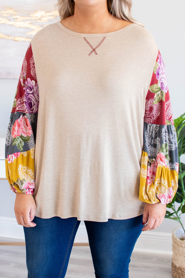 shirt, long sleeve, bubble sleeves, short, oatmeal, floral sleeves, mustard, charcoal, burgundy, pink, green, comfy, fall, winter