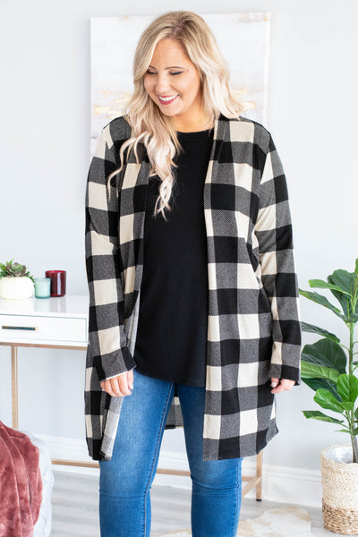 cardigan, long sleeve, elbow pads, long, black, white, plaid, comfy, fall, winter