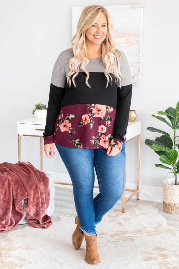 shirt, long sleeve, gray, black, burgundy, green, pink, floral, colorblock, comfy, fall, winter
