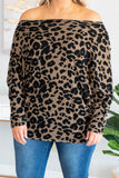 shirt, long sleeve, off the shoulder, fitted, taupe, black, leopard, comfy, fall, winter