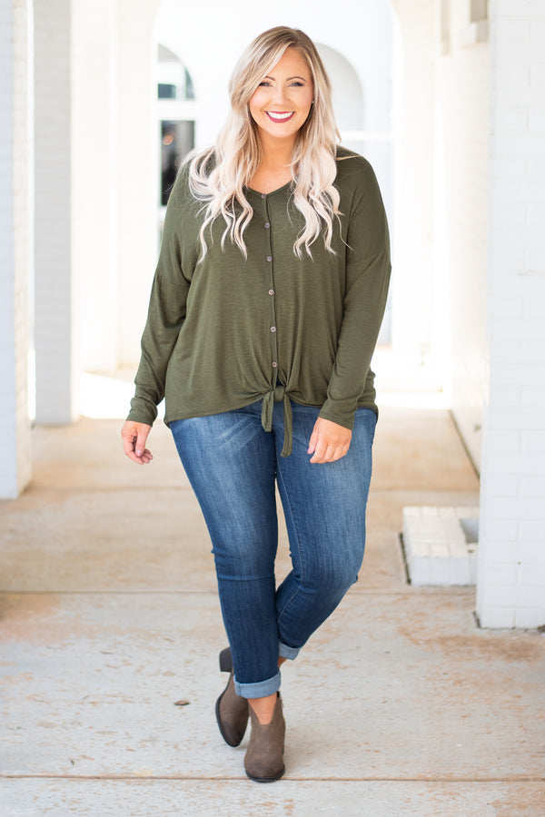 top, long sleeve, olive, button down, tie waist, fall, winter