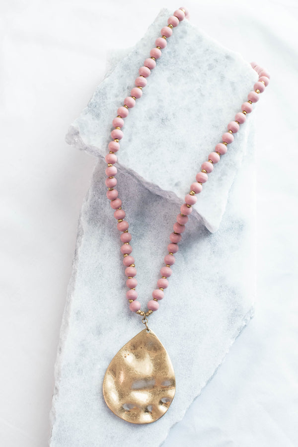 Hammer It Out Necklace, Dusty Pink