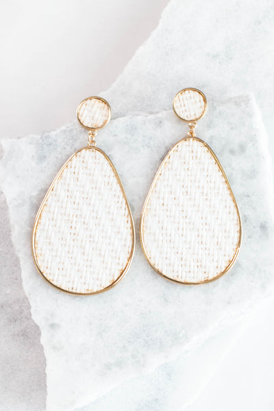 earrings, dangly, teardrop, gold, white, woven, big