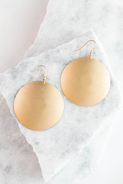 earrings, dangly, gold, large circles