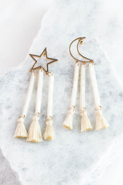 earrings, dangly, moon, star, tassels, gold, ivory, long
