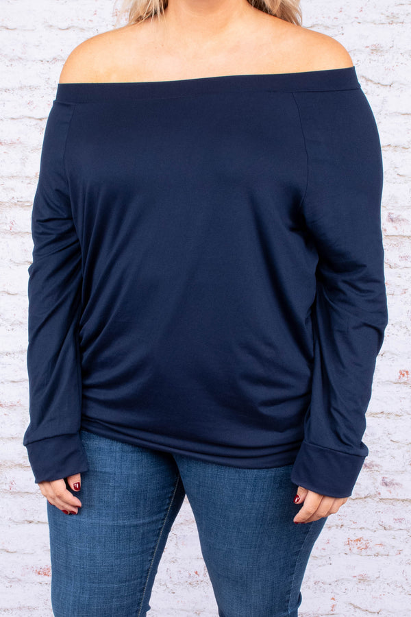 top, long sleeve, off the shoulder, navy, comfy