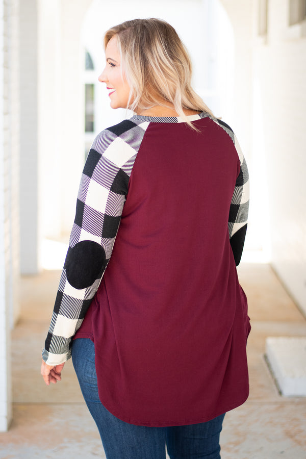 top, long sleeve, casual top, plaid, maroon, black, cream, packed elbow