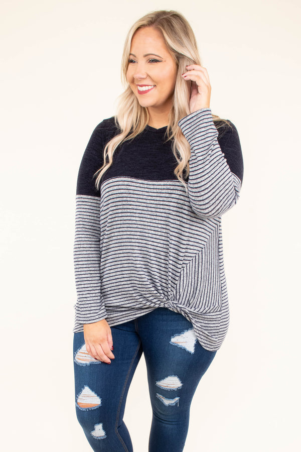 shirt, long sleeve, twisted hem, short, longer back, navy, stripes, colorblock, comfy, fall, winter