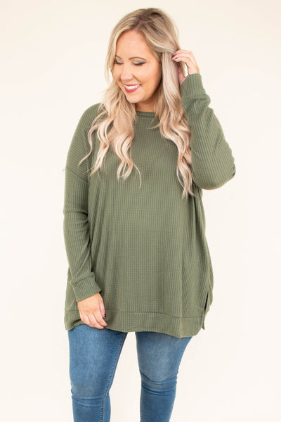 tunic, long sleeve, side slits, waffle knit, flowy, olive, comfy, fall, winter
