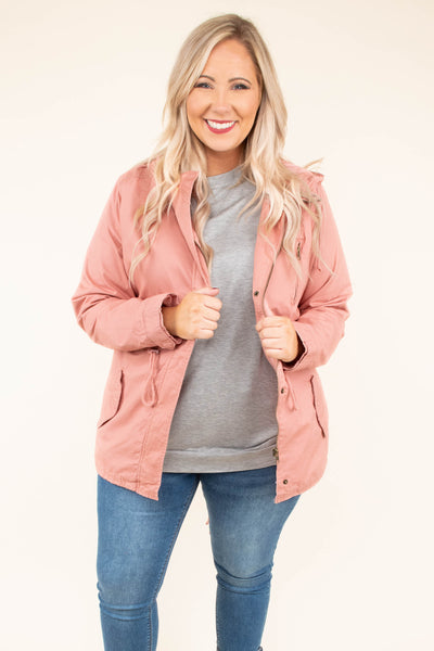 jacket, winter, fall, hood, pockets, zip up, cinch waist, pink, long sleeve