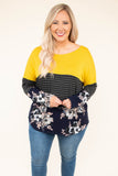 shirt, long sleeve, curved hem, yellow, black, gray, navy, pink, white, stripes, floral, colorblock, comfy