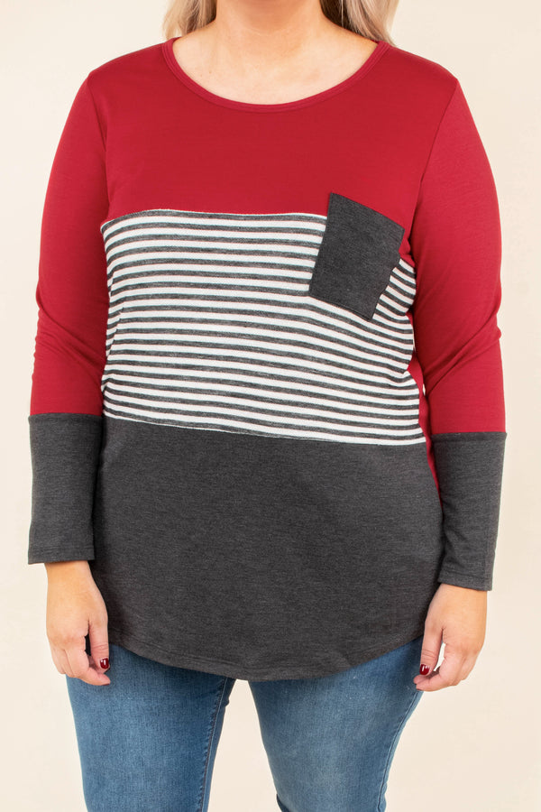 top, long sleeve, color block, stripe, mauve, red front pocket