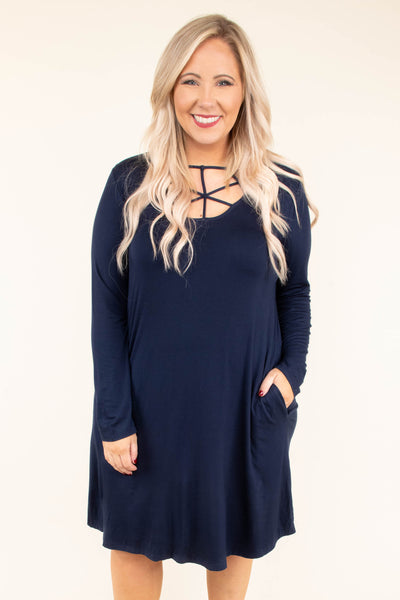 dress, long sleeve, scoop neck, spiderweb neck, pockets, navy, flowy, comfy, fall, winter