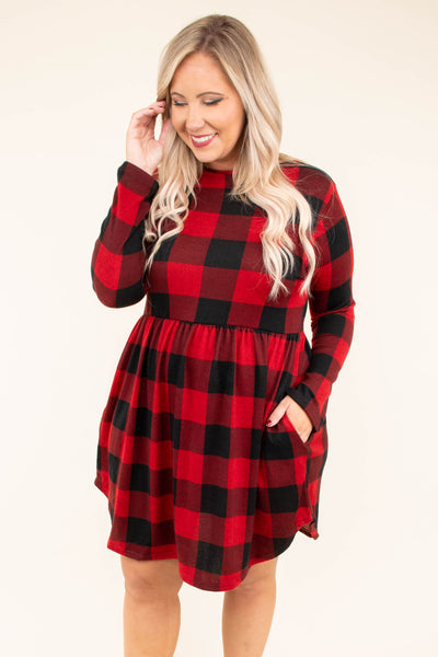 dress, short, long sleeves, babydoll, high neck, red, black, plaid, flowy skirt, fall, winter