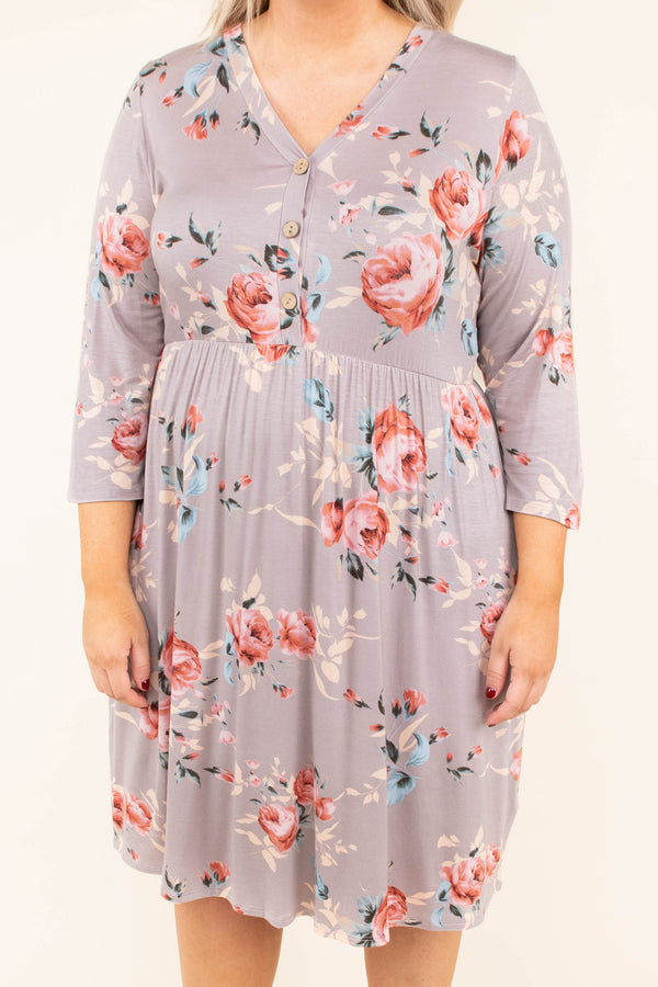 dress, short, three quarter sleeve, vneck, buttons, babydoll, flowy, comfy, taupe, floral, red, blue, tan