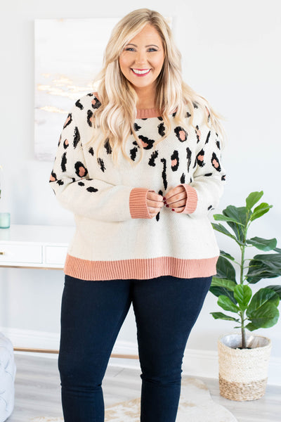 top, sweater, ivory, leopard, charcoal, pink, cozy, comfy