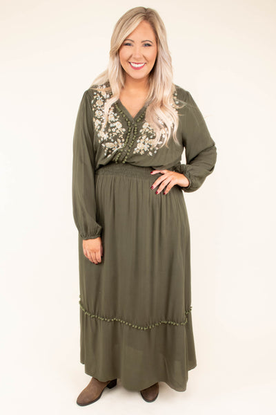 dress, maxi, long sleeve, vneck, fitted waist, embroidered, pompoms, olive, flowy, comfy, fall, winter