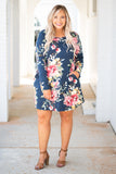 dress, short, long sleeve, flowy, navy, floral, yellow, green, red, white, comfy