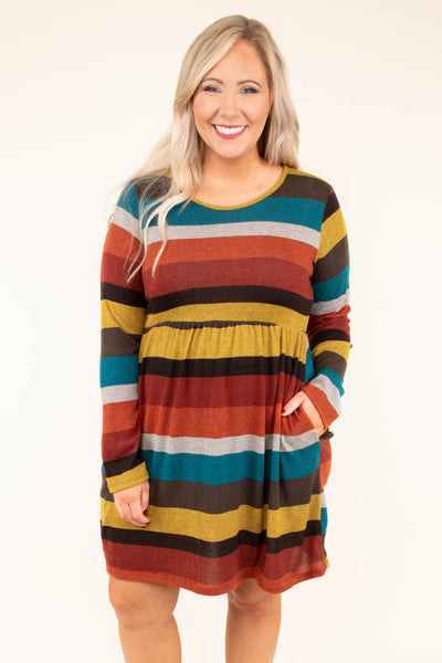 dress, short, long sleeve, pockets, fitted waist, brown, teal, gray, orange, red, yellow, striped, flowy, comfy, fall, winter