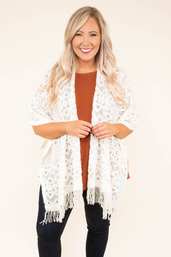 top, shawl, ivory, crochet, fringe