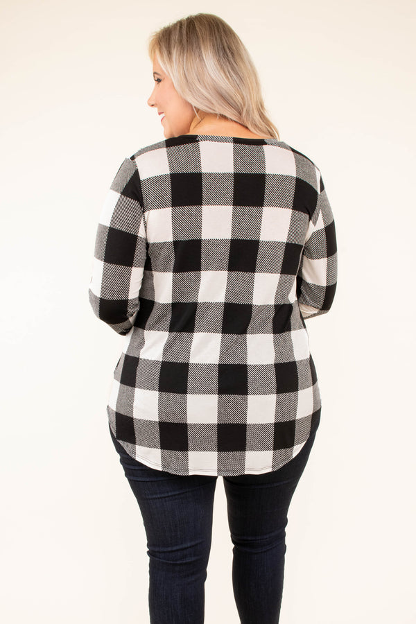 shirt, long sleeve, vneck, curved he,. chest pocket, glitter pocket, black, white, plaid, comfy, fall, winter