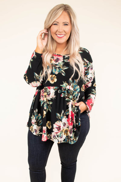 tunic, long sleeve, babydoll, curved hem, black, floral, red, white, green, yellow, flowy, comfy, fall, winter