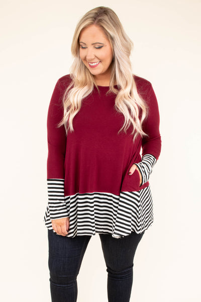 top, casual, red, stripe, solid, colorblock, ruffle, pockets, long sleeve, burgandy, maroon, cute, comfy