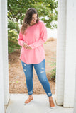 tunic, long sleeve, pink, solid, comfy, loose, curved hem