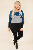 top, casual, blue, black, colorblock, stripe, solid, teal, long sleeve, cute, pocket