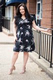 dress, short, short sleeve, vneck, flowy, black, floral, white, red, green, comfy
