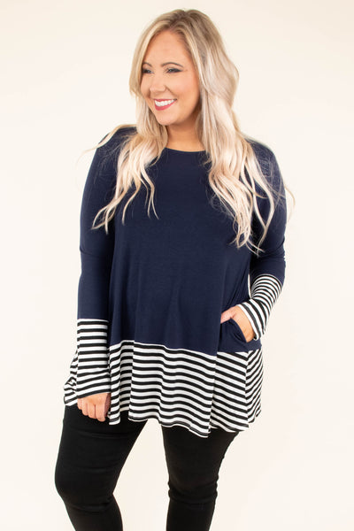 shirt, long sleeve, navy, white stripes, striped thick cuff, striped thick hem, flowy