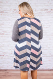 dress, short, round neck, gray, long sleeve, polka dots, chevron, spring