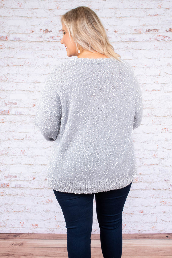 top, sweater, long sleeve, heather gray