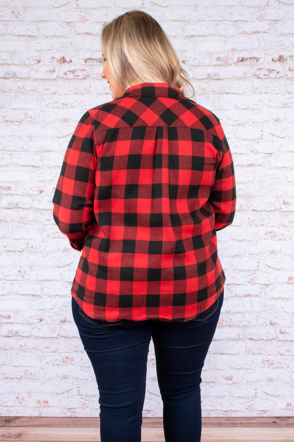 top, long sleeve, button down, pocket, collared, buffalo plaid, red, black
