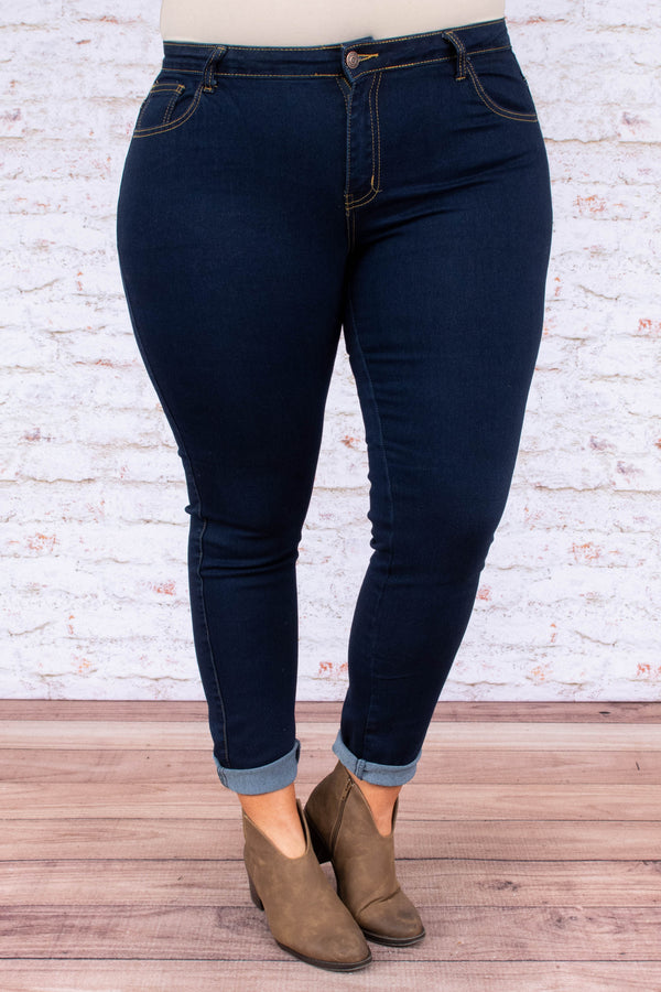 jeggings, dark blue, solid, long, skinny