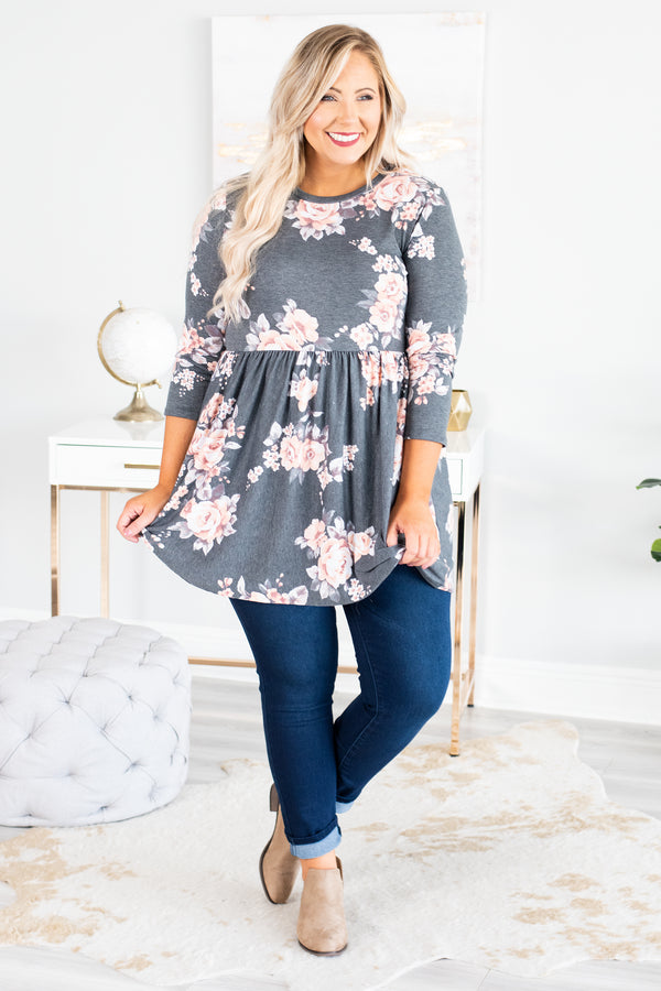 top, three quarter sleeve, baby doll fit, flowy, charcoal, floral, blush, ivory