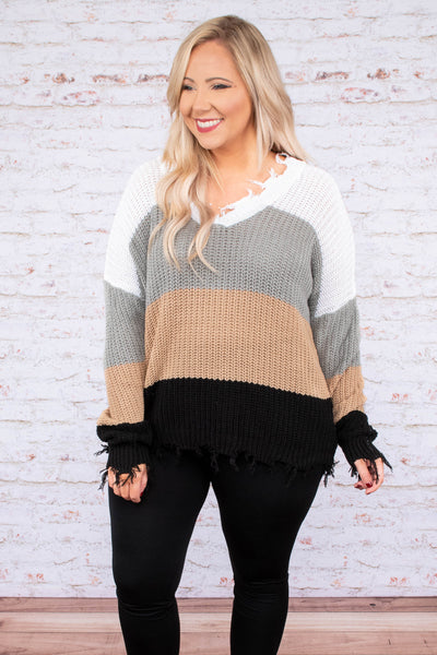 sweater, long sleeve, distressed, frayed, vneck, white, gray, tan, black, colorblock, comfy, fall, winter