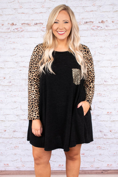 dress, short, leopard sleeve, black, gold glitter accent pocket, pockets, flowy