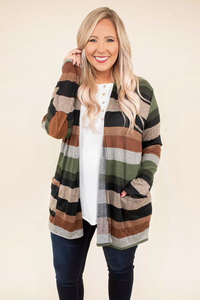 cardigan, long sleeves, pockets, elbow patches, loose, brown, green, tan, orange, green, stripes, comfy, fall, winter