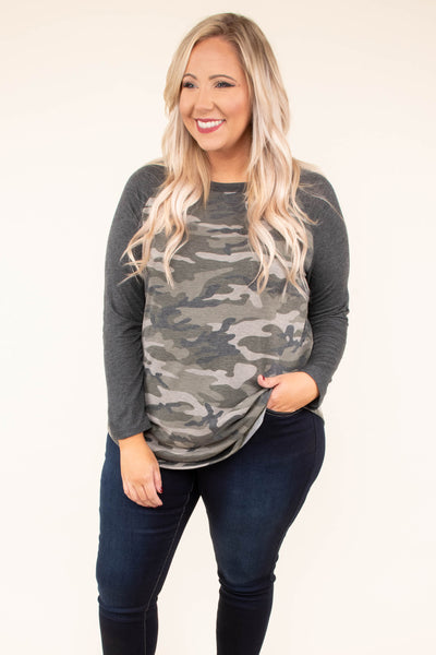 top, long sleeve, camo, camouflage, olive, grey, solid sleeve