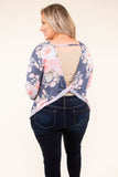 top, long sleeve, charcoal, floral, blush, twist back, cozy