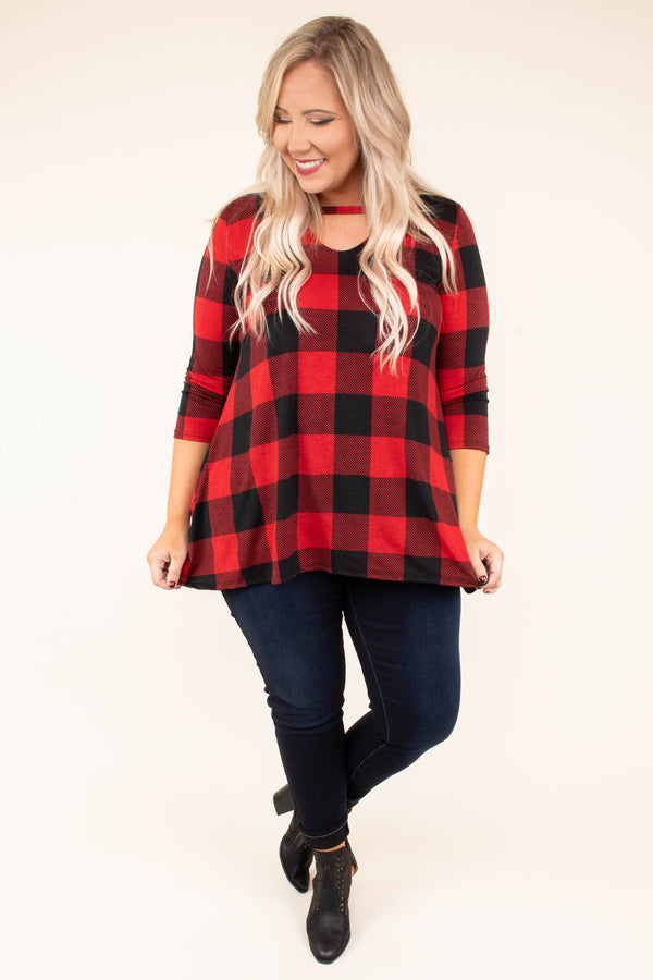 shirt, three quarter sleeve, vneck cutout, pockets, flowy, red, black, plaid, comfy, fall, winter