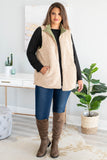 vest, pockets, zip up, fuzzy lining, olive, outerwear, fall, winter, comfy